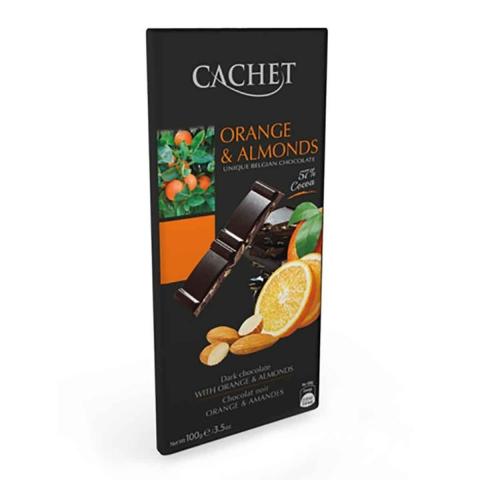 Chocolate negro 57% cacao con naranja y almendra