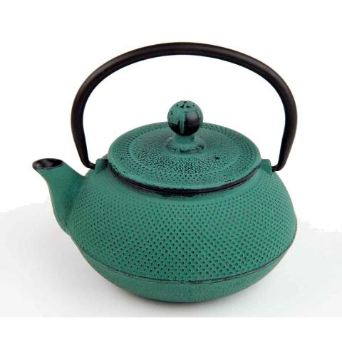 Tetera de hierro verde con filtro de acero inoxidable