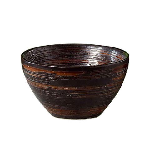 Cuenco de cerámica marrón oscuro
